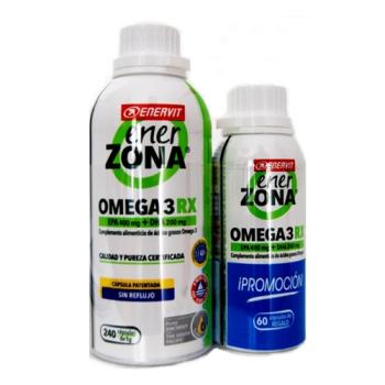 Enerzona Omega 3RX1gr, 240capsulas, Regalo 60capsulas, Aporta ácidos grasos Omega 3.