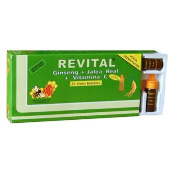 REVITAL GINSENG,  JALEA REAL y VITAMINA C - 20 ampollas/viales